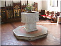 TM3865 : Font at St.Mary's Church, Kelsale by Adrian Cable