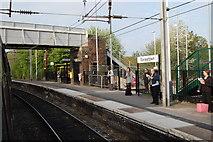 SJ5795 : Earlestown Station Platform & Footbridge by SMJ
