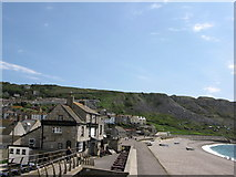 SY6873 : The Cove House Inn and Chesil Cove by Simon Palmer