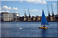 TQ4080 : Sail boat in Royal Victoria Dock by Oast House Archive