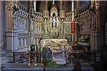 TQ2479 : St John the Baptist Church, Holland Road, London W14 - South chapel reredos by John Salmon