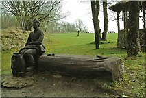 SK3455 : Quarry Man on Bench, Crich Tramway Village by P L Chadwick