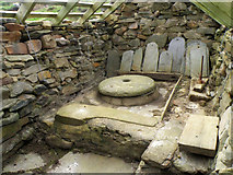 HU1757 : Inside one of the ancient watermills at Huxter by Stuart Wilding