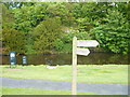 NU2405 : Footpath junction at Warkworth Hermitage by pam fray