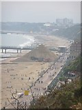 SZ1191 : Boscombe: looking down on the beach from Boscombe Overcliff by Chris Downer