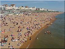 TQ3103 : Crowded Brighton beach east of Palace Pier by David Hawgood