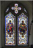 TG2202 : The church of St Remigius - west window by Evelyn Simak
