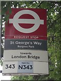 TQ3377 : St George's Way Request Stop, Wells Way SE5 by Robin Sones
