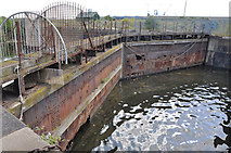 ST1974 : Old dock gates - Cardiff Bay by Mick Lobb