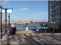 TQ3680 : Steps from Westferry Road down to Thames path by Danny P Robinson