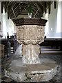 TM1582 : St George's Church - C15 baptismal font by Evelyn Simak