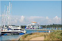 SZ3394 : Outbound ferry passing yacht marina, Lymington by Andy F