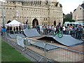 SX9292 : Temporary skateboard park outside Exeter Cathedral by David Smith