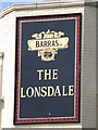 NZ2566 : Sign for The Lonsdale, Sunbury Avenue by Mike Quinn
