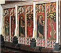 TM1192 : All Saints Church - rood screen dado (detail) by Evelyn Simak