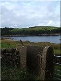 SJ9775 : Stile at Lamaload Reservoir by Peter Barr