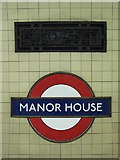 TQ3287 : Ventilation panel, Manor House tube station (2) by Mike Quinn