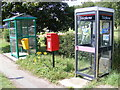 TM3660 : Post Office Farnham Postbox, Telephone Box & Bus Shelter by Geographer