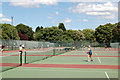 TQ2882 : Looking east across the tennis courts, Regents Park by Andy F