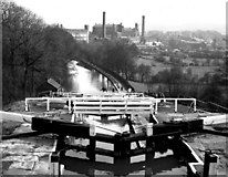 SE1039 : Looking down the Five Rise Locks at Bingley, Leeds and Liverpool Canal by Dr Neil Clifton