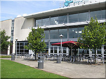 SK4625 : Outdoor eating area, Donington Park Services by Pauline E