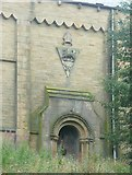 SE1115 : North doorway of St Luke's Church, Milnsbridge by Humphrey Bolton