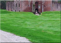 NY0265 : Grassed area outside Caerlaverock Castle by Ann Cook