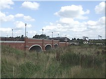 SK0418 : Flood arches beside the River Trent - Station Road by John M