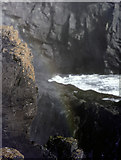 SM7108 : Blowhole spray and rainbow, the Basin, Skomer by John Rostron