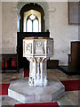 TM3197 : The church of SS Margaret and Remigius - C15 baptismal font by Evelyn Simak