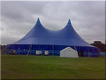 TQ4387 : Giant marquee in Valentines Park by Yusuf Gitay