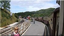 SH5848 : Train arriving at Beddgelert station from Hafod-y-Llyn by Richard Hoare