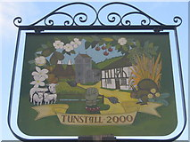 TQ8961 : Close-up of Tunstall Village Sign by David Anstiss