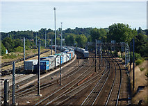 TM1444 : Railway line curving towards Ipswich station by Andrew Hill