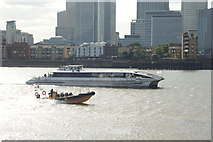 TQ3880 : High Speed Boats Near the Millennium Dome by Peter Trimming