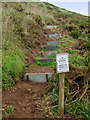 SW9379 : New section of coastpath, Pentireglaze Haven by Andy F