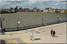 TQ3680 : Waterfront at Canary Wharf by Peter Trimming