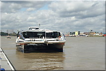 TQ3980 : Thames Clipper at the QEII Pier by Peter Trimming