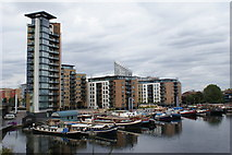 TQ3880 : Boats in Blackwall Basin, London by Peter Trimming