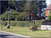 TQ7937 : Sissinghurst Village Sign and Penny Farthing by Oast House Archive