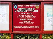 SZ5881 : Notice Board, St Saviour on the Cliff, Shanklin by Christine Matthews
