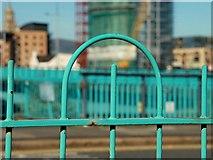J3474 : Fence, Queen's Quay, Belfast by Albert Bridge