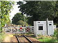 TG3608 : Lingwood station - signal box by level crossing by Evelyn Simak
