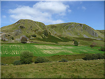SN8056 : Fields and crags in the Towy Valley, Powys by Roger  Kidd