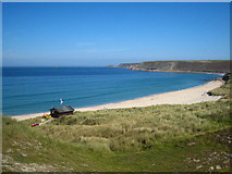SW3526 : Sennen Cove lifeguard post  and Whitesand Bay by Rod Allday
