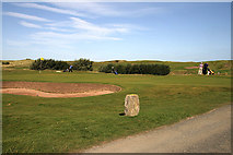 NU0445 : The 17th green at Goswick Golf Course by Walter Baxter