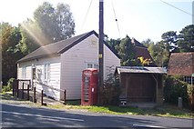 TQ7035 : Quarry Centre, Phone Box and Bus Shelter in Kilndown by David Anstiss