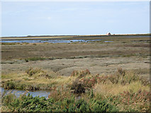 TG0345 : Saltmarshes and the Cley Channel from the Norfolk Coast Path by Andy Parrett