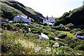 SX0586 : Back gardens in Trebarwith Strand by Steve Daniels