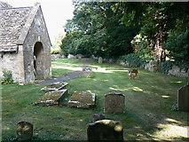 SO9700 : Churchyard and porch, St Matthew's church, Coates by Brian Robert Marshall